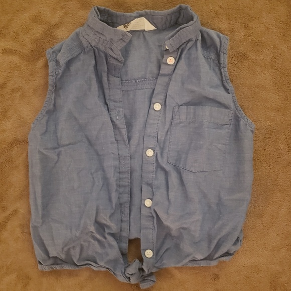 Girls Denim.Button Up Sleeveless Tie Shirt